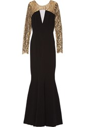 Theia Lace Paneled Crepe Gown Black