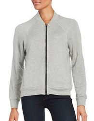 Velvet By Graham And Spencer Faux Fur Lined Zip Up Sweatshirt Grey