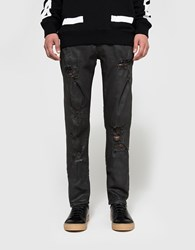 Off White Slim Fit With Rips 5 Pockets Black Clay