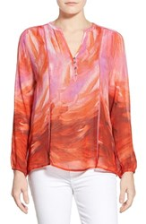Women's Casual Studio Blouse Red Pink Watercolor