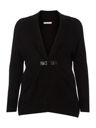 Persona Plus Size Matrice Buckle Pocket Cardigan Black