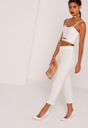 Missguided Cropped Cigarette Trouser With Zip Back Detail White White