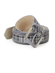 Brioni Suede Trim Plaid Belt Blue