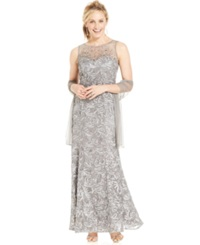 Jr Nites Ignite Petite Beaded Illusion Embroidered Gown And Shawl Pewter