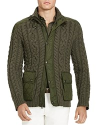 Polo Ralph Lauren Cable Knit Hybrid Sweater Jacket 100 Bloomingdale's Exclusive Olive