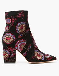 Loeffler Randall Isla Embroidered Boot Black Floral