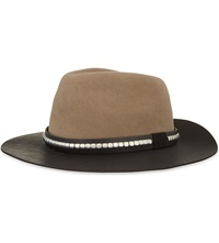 The Kooples Western Leather And Felt Hat Beige Black