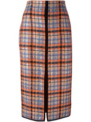Msgm Front Slit Checked Skirt Yellow And Orange