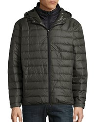 Hawke And Co Packable Down Puffer Hooded Coat Dark Moss