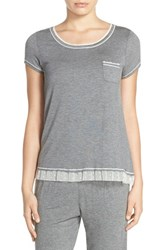 Kensie Women's Short Sleeve Jersey Top Dark Grey Heather
