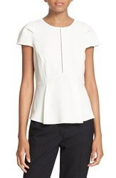 Rebecca Taylor Women's Silk Moss Crepe Peplum Top Cream