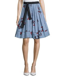 Marc Jacobs Tie Waist Floral Gingham Skirt Blue