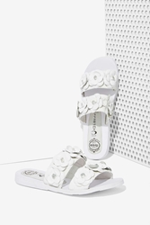 Nasty Gal Jeffrey Campbell Bastia Leather Sandal White Floral