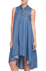 Women's Catherine Catherine Malandrino 'Robyn' Sleeveless Chambray High Low Trapeze Dress