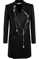 Alexander Mcqueen Embellished Wool And Silk Blend Crepe Blazer Black