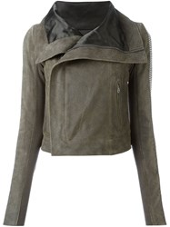 Rick Owens Ribbed Brass Sleeve Biker Jacket Grey