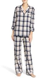 Nordstrom Women's Lingerie Cotton Twill Pajamas Navy Peacoat Paige Plaid