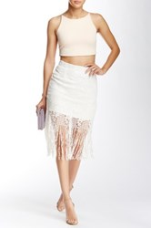 Maac London Troyes Lace Sequin Skirt White