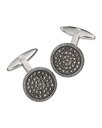 Jan Leslie Round Marcasite Cuff Links Gray