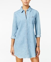 Roxy Juniors' Cat Island Denim Shirtdress Light Pastel Blue