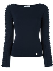 Versace Collection Ribbed Sleeve Jumper Blue