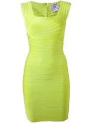 Herve Leger Off Shoulder Bandage Dress Green