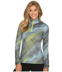 Spyder Collection T Neck Top Geo Rays Acid Print Women's Long Sleeve Pullover Multi