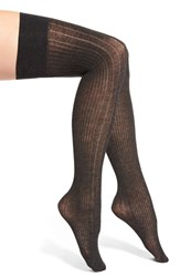 Women's Dkny Variegated Ribbed Over The Knee Socks Grey Flannel