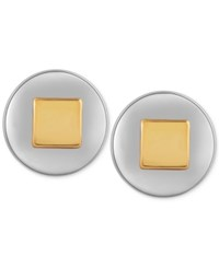 T Tahari Silver Tone Round Stud Earrings