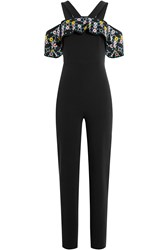 Peter Pilotto Jumpsuit With Embroidered Bardot Shoulders Black