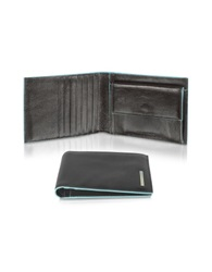 Piquadro Blue Square Men's Billfold Leather Wallet Black