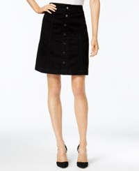 Charter Club Button Front Denim Skirt Only At Macy's Saturated Black