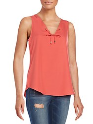 Saks Fifth Avenue Red Lace Up Top Coral