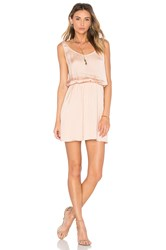 Michael Stars Zoey Satin Double Scoop Neck Dress Tan