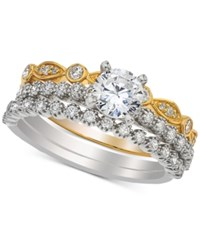 Macy's Diamond Three Piece Bridal Set 1 Ct. T.W. In 14K White And Yellow Gold Two Tone