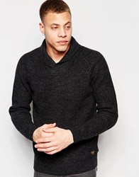 Scotch And Soda Structured Shawl Collar Pullover With Zip Detail At Left Sid Black