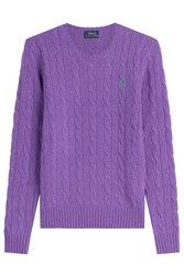 Polo Ralph Lauren Merino Wool Cable Knit Pullover Purple