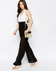 Wal G Jumpsuit With Wrap Front Black Andwhite