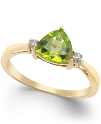 Macy's Peridot 1 1 3 Ct. T.W. And Diamond Accent Ring In 14K Gold