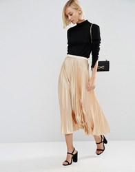 Asos Midi Skirt In Pleated Satin Champagne Cream