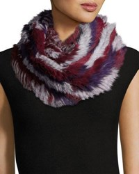 Jocelyn Rabbit Fur Infinity Scarf Purple Multicolor