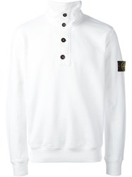 Stone Island Buttoned Roll Neck Pullover White