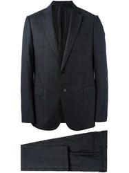 Armani Collezioni Plaid Fitted Business Suit Grey