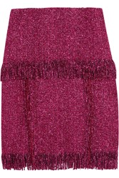 Lanvin Tiered Woven Raffia Skirt Purple