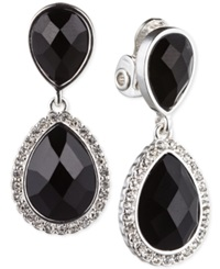 Jones New York Silver Tone Faceted Teardrop Double Drop Clip On Earrings Jet