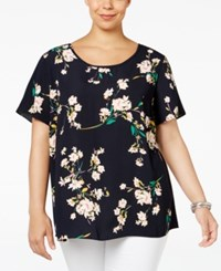 Ing Plus Size Floral Print High Low Top