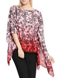 Vince Camuto Festive Lace Ombre Poncho Fire Glow