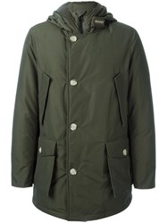 Woolrich Buttoned Hooded Coat Green