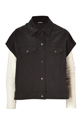 Neil Barrett Charcoal White Denim Vest Jacket Combo With Leather Sleeves Black
