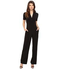 Catherine Malandrino Short Sleeve Inverted Pleat Jumpsuit Blackbird Women's Jumpsuit And Rompers One Piece